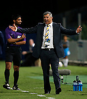 Central Coast Mariners coach Phil Moss during his AFC Champions League match against Japan's Sanfrecce Hiroshima in Gosford, near Sydney, March 11, 2014. VIEWPRESS/Daniel Munoz EDITORIAL USE ONLY