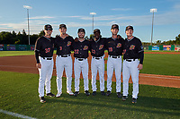 Batavia Muckdogs All-Stars Brock Love (32), Nic Ready (3), J.D. Orr (22), Milton Smith II (33), Josh Simpson (19), and Troy Johnston (27) before a NY-Penn League game against the Auburn Doubledays on August 31, 2019 at Dwyer Stadium in Batavia, New York.  Auburn defeated Batavia 12-5.  (Mike Janes/Four Seam Images)