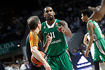 Darussafaka Dogus Istambul's Brad Wanamaker have words with the referee during Euroleague, playoffs, Game 2. April 21, 2017. (ALTERPHOTOS/Acero)