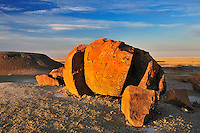 Sandstone concretion at sunrise<br /> Red Rock Coulee Natural Preserve<br /> Alberta<br /> Canada