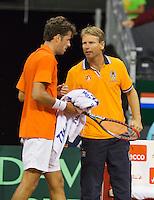 September 12, 2014, Netherlands, Amsterdam, Ziggo Dome, Davis Cup Netherlands-Croatia, Robin Haase (NED) and captain Jan Siemerink<br /> Photo: Tennisimages/Henk Koster