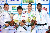 RIO DE JANEIRO, RJ,30 DE AGOSTO DE 2013 -CAMPEONATO MUNDIAL DE JUDÔ RIO 2013- A norte coreana Kyong Sol conquista a medalha de pouro e a brasileira Mayra Aguiar conquista o bronze na categoria -78kg no Mundial de Judô Rio 2013, no Maracanazinho de 26 de agosto a 01 de setembro, zona norte do Rio de Janeiro.FOTO:MARCELO FONSECA/BRAZIL PHOTO PRESS