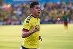 James Rodriguez of Colombia celebrates after scoring a goal during the friendly match between Camerun and Colombia in Madrid, Spain 13 jun 2017.(ALTERPHOTOS/Rodrigo Jimenez)