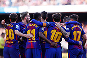 18th March 2018, Camp Nou, Barcelona, Spain; La Liga football, Barcelona versus Athletic Bilbao; Leo Messi of FC Barcelona celebrates the 30th minute goal for 2-0 with the team