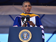 Washington, DC - May 7, 2016: U.S. President Barack Obama delivers the keynote address at Howard University's 148th Commencement Convocation May 7, 2016. Obama, who also received an honorary Doctor of Sciences degree, is the sixth sitting U.S. president to deliver the commencement address at Howard.  (Photo by Don Baxter/Media Images International)