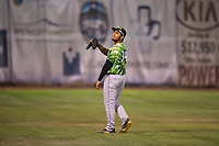 Eugene Emeralds left fielder D.J. Artis (34) during a Northwest League game against the Salem-Keizer Volcanoes at Volcanoes Stadium on August 31, 2018 in Keizer, Oregon. The Eugene Emeralds defeated the Salem-Keizer Volcanoes by a score of 7-3. (Zachary Lucy/Four Seam Images)