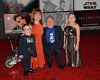Warwick Davis, Samantha Davis &amp; Family at the world premiere for &quot;Star Wars: The Last Jedi&quot; at the Shrine Auditorium. Los Angeles, USA 09 December  2017<br /> Picture: Paul Smith/Featureflash/SilverHub 0208 004 5359 sales@silverhubmedia.com