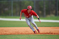 St. Louis Cardinals Andrew Brodbeck (30) leads off during a Minor League Spring Training intrasquad game on March 31, 2016 at Roger Dean Sports Complex in Jupiter, Florida.  (Mike Janes/Four Seam Images)