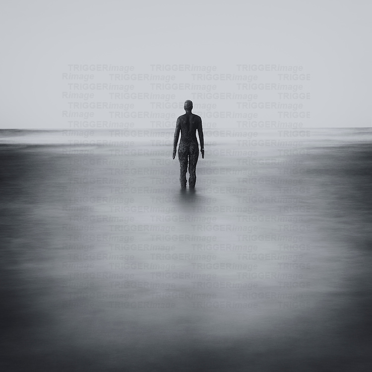 Anthony Gormley's 'Another Place' Statues, Crosby Beach, Merseyside, UK
