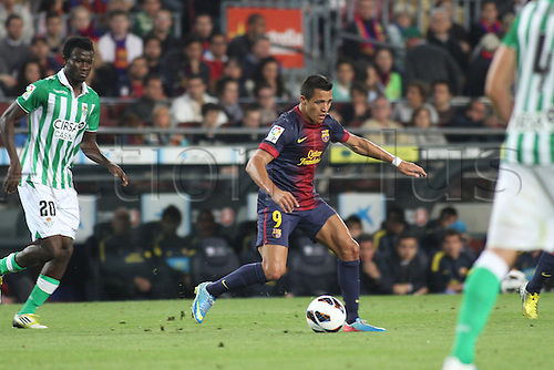 05.05.2013 Barcelona, Spain. Alexis in action during the Spanish La Liga game between Barcelona and Real Betis from Nou Camp.