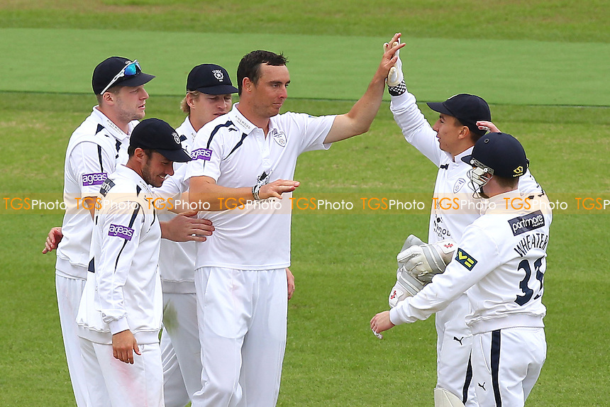 Kyle Abbott of Hampshire (C) celebrates the wicket of Reece Topley - Hampshire CCC vs Essex CCC - LV County Championship Division Two Cricket at the Ageas Bowl, West End, Southampton - 16/06/14 - MANDATORY CREDIT: Gavin Ellis/TGSPHOTO - Self billing applies where appropriate - 0845 094 6026 - contact@tgsphoto.co.uk - NO UNPAID USE