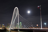 One of Dallas landmark, Margaret Hunt Hill Bridge is built above the Trinity River.