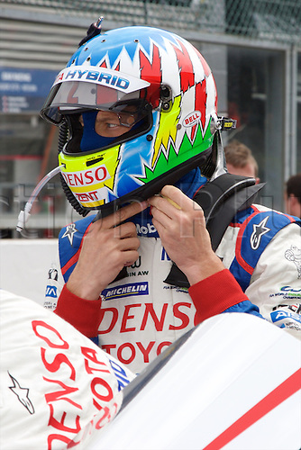 02.05.2015.  Spa-Francorchamps, Belgium. World Endurance Championship Round 2. Toyota Racing LMP1 Hybrid Toyota TS040 driver Alexander Wurz removing his helmet.