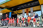Cofidis team on stage outside Le Palais des Princes-&Eacute;v&ecirc;ques at the team presentation before the 104th edition of La Doyenne, Liege-Bastogne-Liege 2018, Belgium. 21st April 2018.<br /> Picture: ASO/Karen Edwards | Cyclefile<br /> <br /> <br /> All photos usage must carry mandatory copyright credit (&copy; Cyclefile | ASO/Karen Edwards)