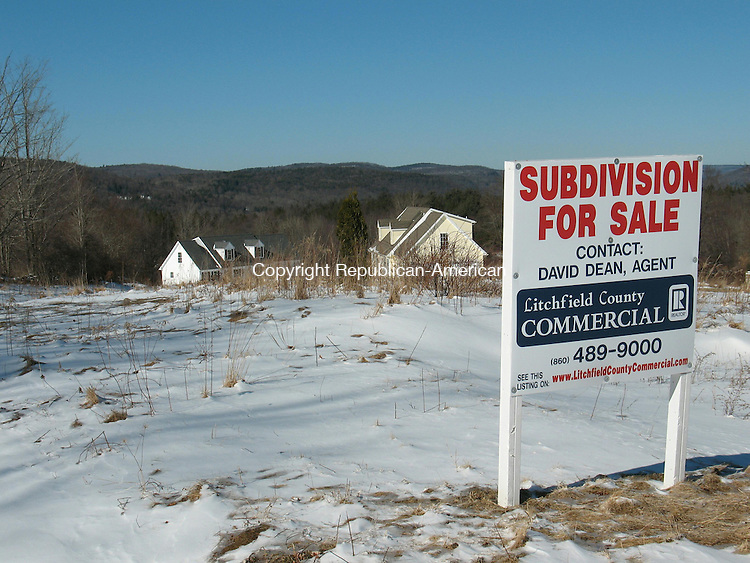 WINSTED, CT - 13 Feb. 2010 - 021310KM01 - This 105-lot subdivision at the corner of Wallens Street and Wallens Hill Road in Winsted is for sale for $3 million after the lender foreclosed on the previous owner. Real estate broker David Dean of Litchfield County Commercial, Realtors says there are at least three potential buyers. Kurt Moffett Republican-American