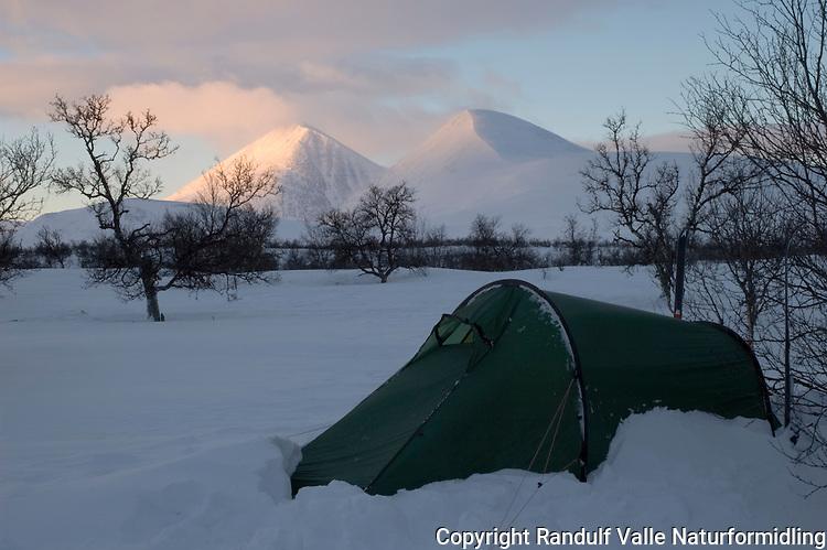 Telt i morgenlys foran Storsølnkletten og Veslesølnkletten i Alvdal vestfjell ---- Tent in Alvdal vestfjell