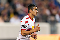 Tim Cahill (17) of the New York Red Bulls wearing an armband honoring Boston. Sporting Kansas City defeated the New York Red Bulls 1-0 during a Major League Soccer (MLS) match at Red Bull Arena in Harrison, NJ, on April 17, 2013.