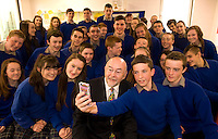 09-05-2014:  Minister for Education and Skills Ruairi Quinn T.D. performed the formal sod turning ceremony to mark the beginning of the construction phase for a new school for  Presentation Secondary School, Milltown, Co. Kerry on Friday. He is pictured here participating in a 'selfie' photo with students from  Presentation Secondary School. Picture: Eamonn Keogh (MacMonagle, Killarney)