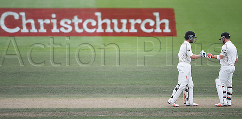 22.02.2016. Christchurch, New Zealand.  Kane Williamson and Brendon McCullum on Day 3 of the 2nd test match. New Zealand Black Caps versus Australia. Hagley Oval in Christchurch, New Zealand. Monday 22 February 2016.