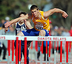 SIOUX FALLS, SD - MAY 3:  Traxton Priebe from South Dakota State University clears a hurdle in the Men's 100 Meter Hurdles Saturday morning at the 2014 Howard Wood Dakota Relays. (Photo by Dave Eggen/Inertia)
