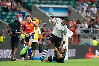 Twickenham, United Kingdom. 3rd June 2018, HSBC London Sevens Series. Game 45. Cup Final.  Fiji vs South Africa. <br /> <br /> Fijian, Kallone NASOKO, tackled by Werner KOK, during the Rugby 7's, match played at the  RFU Stadium, Twickenham, England, <br /> <br /> <br /> <br /> &copy; Peter SPURRIER/Alamy Live News