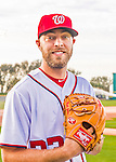 28 February 2016: Washington Nationals pitcher Matt Grace poses for his Spring Training Photo-Day portrait at Space Coast Stadium in Viera, Florida. Mandatory Credit: Ed Wolfstein Photo *** RAW (NEF) Image File Available ***
