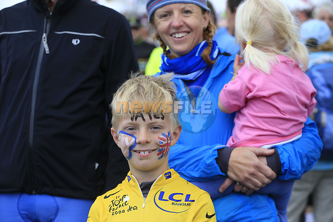 Young Adam Yates fan on the summit of Cote de Cray on Stage 1 of the 2014 Tour de France running 190.5km from Leeds to Harrogate. 5th July 2014.<br /> Picture: Eoin Clarke www.newsfile.ie