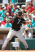 The Coastal Carolina University Chanticleers third baseman Scott Woodward #10 at bat during the 2nd and deciding game of the NCAA Super Regional vs. the University of South Carolina Gamecocks on June 13, 2010 at BB&T Coastal Field in Myrtle Beach, SC.  The Gamecocks defeated Coastal Carolina 10-9 to advance to the 2010 NCAA College World Series in Omaha, Nebraska. Photo By Robert Gurganus/Four Seam Images