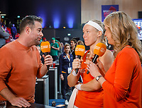 The Hague, The Netherlands, Februari 8, 2020,    Sportcampus, FedCup  Netherlands -  Balarus, Ziggo interview with : Kiki Bertens (NED) (M) Kristy Boogert and the former coach of Bertens Raemon Sluiter<br /> Photo: Tennisimages/Henk Koster