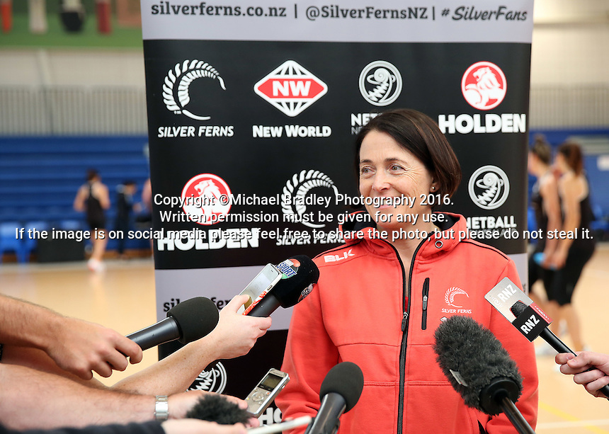 14.10.2016 Silver Ferns coach Janine Southby at the Silver Ferns training at the Auckland Netball Centre in Auckland. Mandatory Photo Credit ©Michael Bradley.