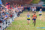 LOUISVILLE, KY - NOVEMBER 18: Justin Knight #615 of Syracuse University looks towards Matthew Baxter #426 of Northern Arizona University as they reach the finish line during the Division I Men's Cross Country Championship held at E.P. Tom Sawyer Park on November 18, 2017 in Louisville, Kentucky. (Photo by Tim Nwachukwu/NCAA Photos via Getty Images)