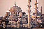 Istanbul, Turkey, Yeni Camii, foreground, Nuruosmaniye Camii, distant Mosques, Golden Horn,
