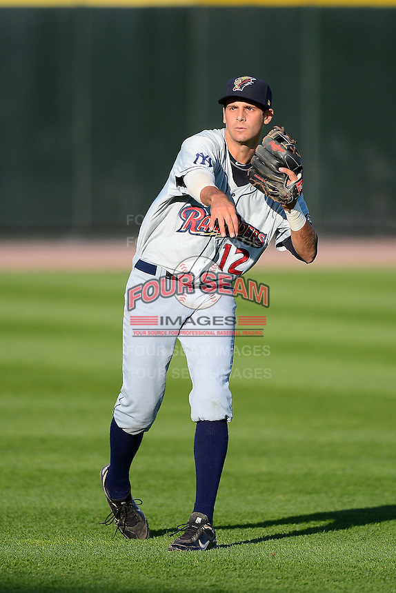 Scranton Wilkes-Barre RailRiders third baseman Dan Fiorito #12 warms up before a game against the Rochester Red Wings on June 19, 2013 at Frontier Field in Rochester, New York.  Scranton defeated Rochester 10-7.  (Mike Janes/Four Seam Images)