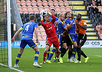Solihull Moors goalkeeper, Ryan Boot, safely catches the ball in a crowded goalmouth during Barnet vs Solihull Moors, Vanarama National League Football at the Hive Stadium on 28th September 2019