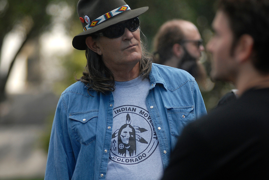 24 Aug 08: Former University of Colorado professor Ward Churchill. On the day before the Democratic National Convention is scheduled to begin about 1,500 people participated in the ReCreate 68 rally, which included a march from the Colorado state capitol building to the Pepsi Center.