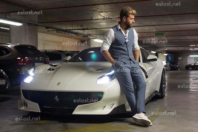 UNGARN, 07.2017, Budapest - V. Bezirk. Josh Cartu, millionaire businessman, with his Ferrari F12. © Martin Fejer/estost.net
