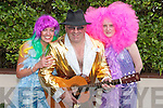FANCY DRESS: Gerry Buckley (Van Morrison) with Bernie Prendeville and Catherine Murnane (Better half of Abba) at the Fancy Dress parade in Lixnaw on Sunday. .