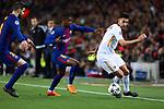UEFA Champions League 2017/2018.<br /> Quarter-finals 1st leg.<br /> FC Barcelona vs AS Roma: 4-1.<br /> Gerard Pique, Nelson Semedo &amp; Lorenzo Pellegrini.