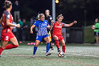 Boston, MA - Sunday September 10, 2017: Adriana Leon and Meghan Klingenberg during a regular season National Women's Soccer League (NWSL) match between the Boston Breakers and Portland Thorns FC at Jordan Field.