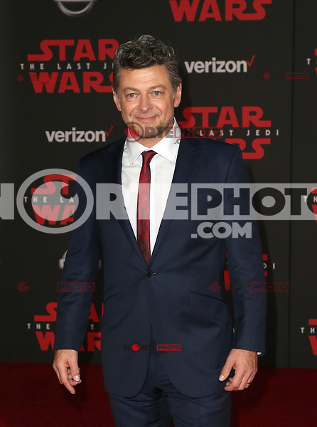 LOS ANGELES, CA - DECEMBER 9: Andy Serkis, at Premiere Of Disney Pictures And Lucasfilm's 'Star Wars: The Last Jedi' at Shrine Auditorium in Los Angeles, California on December 9, 2017. Credit: Faye Sadou/MediaPunch /NortePhoto.com NORTEPHOTOMEXICO