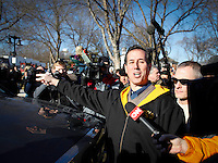 Rick Santorum points out the pleasures of traveling in a pickup truck during a campaign stop at a cafe in Polk City, Iowa on Monday, January 2, 2012.  (Christopher Gannon/GannonVisuals.com/MCT)