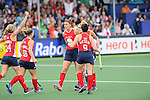 The Hague, Netherlands, June 10: Rachel Dawson #8 of USA is congratulated by teammates during the field hockey group match (Women - Group B) between USA and South Africa on June 10, 2014 during the World Cup 2014 at GreenFields Stadium in The Hague, Netherlands. Final score 4-2 (1-0) (Photo by Dirk Markgraf / www.265-images.com) *** Local caption ***