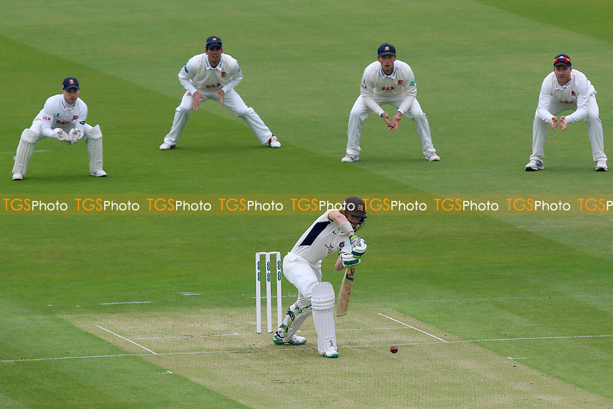 The Essex slip cordon looks on as Nick Gubbins plays defensively during Middlesex CCC vs Essex CCC, Specsavers County Championship Division 1 Cricket at Lord's Cricket Ground on 21st April 2017