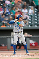 Catcher Freddy Fermin (4) of the Lexington Legends bats in a game against Columbia Fireflies on Friday, May 3, 2019, at Segra Park in Columbia, South Carolina. Lexington won, 5-2. (Tom Priddy/Four Seam Images)