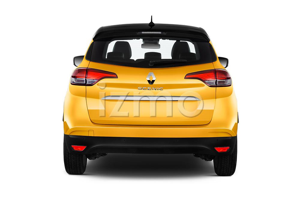 Straight rear view of 2017 Renault Scenic Intens 5 Door Minivan Rear View  stock images