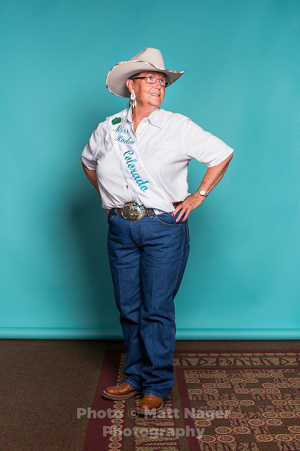 1963 winner of the Miss Rodeo Queen Colorado competition Sue Guilliams Israel at the 2016 Miss Rodeo Colorado competition during the Greely Stampede in Greely, Colorado, July 3, 2015.<br /> <br /> Photo by Matt Nager