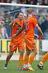 St Johnstone v Dundee Utd....21.04.12   SPL.John Rankin celebrates his goal with Johnny Russell.Picture by Graeme Hart..Copyright Perthshire Picture Agency.Tel: 01738 623350  Mobile: 07990 594431