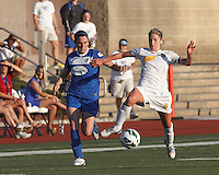 Boston Breakers midfielder Heather O'Reilly (9) and Western New York Flash midfielder McCall Zerboni (7) battle for the ball.  In a National Women's Soccer League (NWSL) match, Boston Breakers (blue) tied Western New York Flash (white), 2-2, at Dilboy Stadium on August 3, 2013.