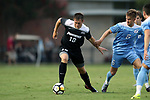 ELON, NC - AUGUST 25: Providence's Mac Steeves (18) and North Carolina's Cam Lindley (6). The University of North Carolina Tar Heels hosted the Providence College Friars on August 25, 2017 at Rudd Field in Elon, NC in a Division I college soccer game. UNC won the game 4-2.