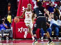 College Park, MD - NOV 13, 2017: Maryland Terrapins guard Kaila Charles (5) brings the ball up court during game between No. 4 ranked South Carolina and the No. 15 Maryland Terrapins at the XFINITY Center in College Park, MD. The Gamecocks defeated Maryland 94-86.  (Photo by Phil Peters/Media Images International)